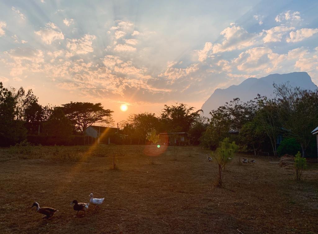 Sonnenuntergang mit Blick auf ein Café in Thailand